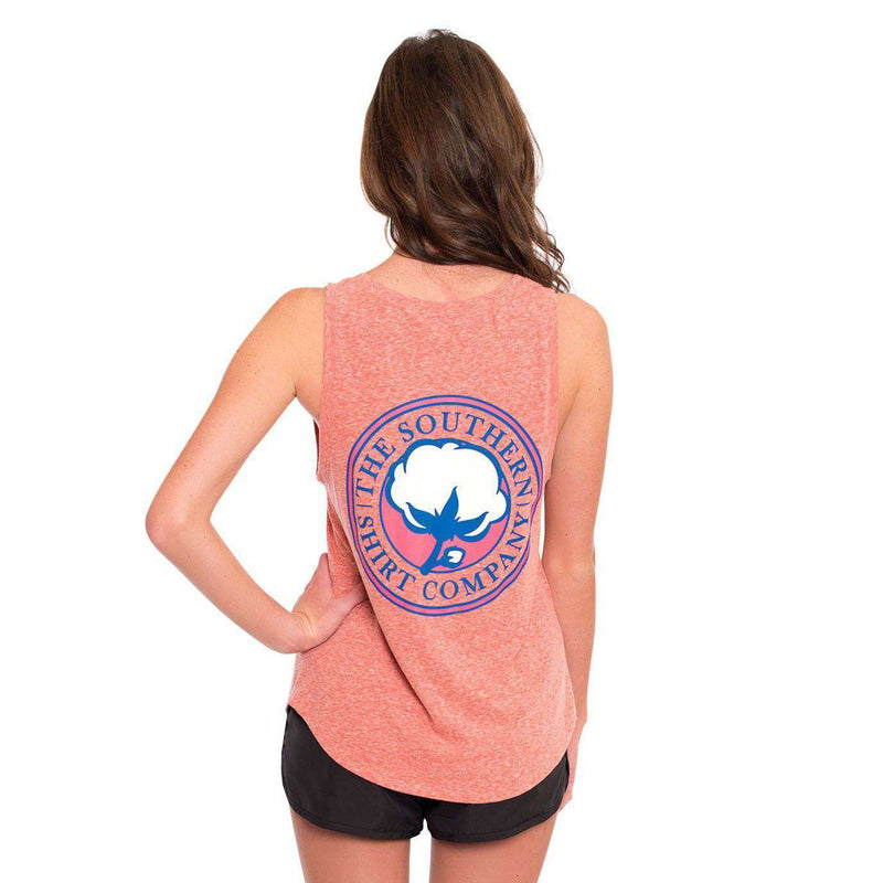 Women's Tee Shirts - Marled Boyfriend Tank Top In Heather Coral By The Southern Shirt Co.
