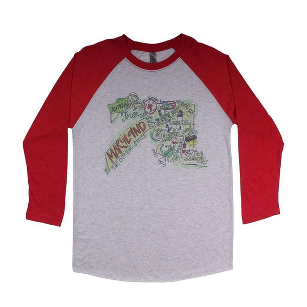 Women's Tee Shirts - Maryland Roadmap Raglan Tee Shirt In Red By Southern Roots
