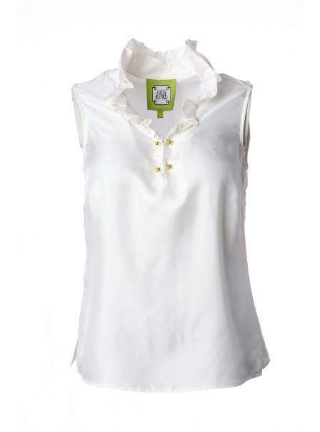Women's Tee Shirts - McKay Blouse In Whisper White By Elizabeth McKay - FINAL SALE