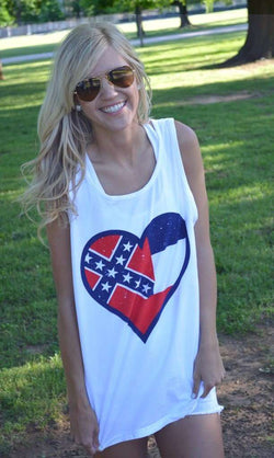 Women's Tee Shirts - Mississippi Pride Tank Top In White