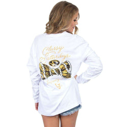 Women's Tee Shirts - Mizzou Classy Saturday Long Sleeve Tee In White By Lauren James