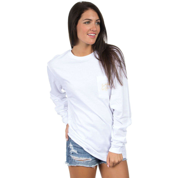 Women's Tee Shirts - Mizzou Perfect Pairing Long Sleeve Tee In White By Lauren James