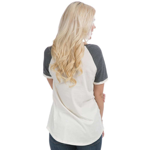 Mizzou Vintage Tailgate Tee in White and Heathered Grey by Lauren James  - 2