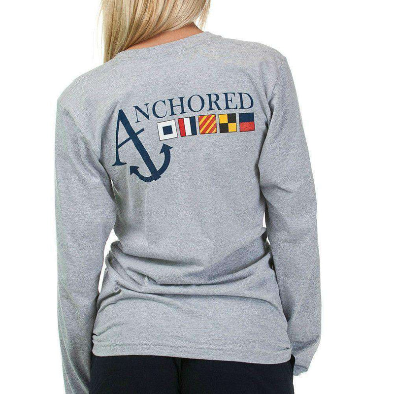 Women's Tee Shirts - Nautical Flag Long Sleeve Tee Shirt In Heather Grey By Anchored Style - FINAL SALE