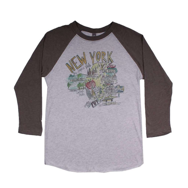 Women's Tee Shirts - New York Roadmap Raglan Tee Shirt In Gray By Southern Roots