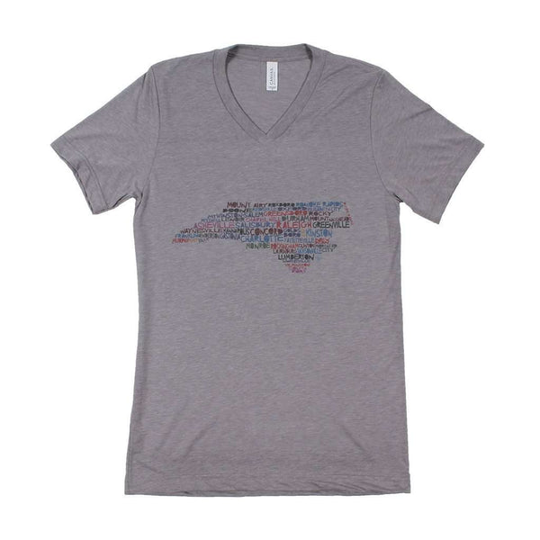 Women's Tee Shirts - North Carolina Cities And Towns V-Neck By Southern Roots