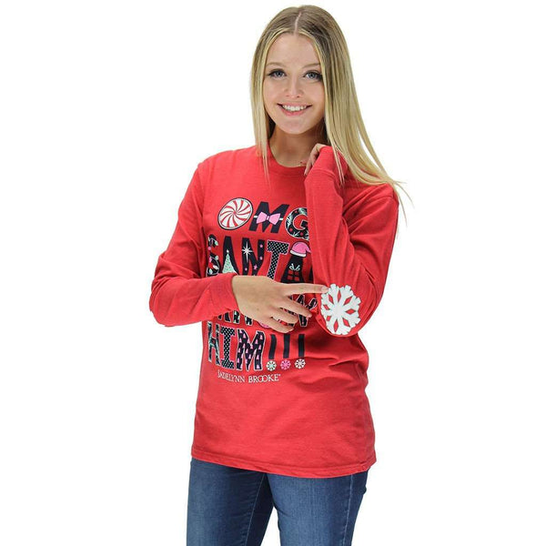 OMG Santa! I Know Him! Long Sleeve Tee in Heather Red by Jadelynn Brooke