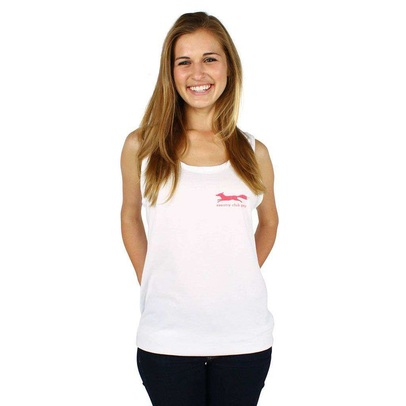 Women's Tee Shirts - Original Logo Tank Top In White By Country Club Prep - FINAL SALE