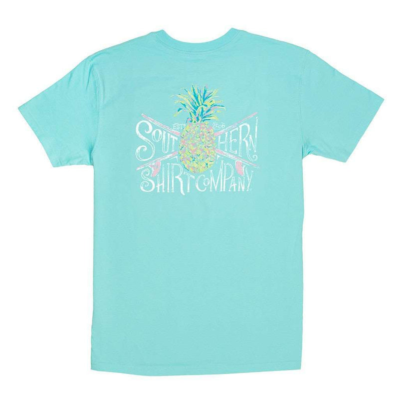 Women's Tee Shirts - Painted Pineapple Tee In Blue Radiance By The Southern Shirt Co. - FINAL SALE