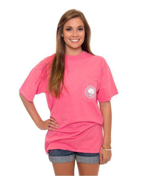 Women's Tee Shirts - Palm Print Logo Pocket Tee In Blush By The Southern Shirt Co.