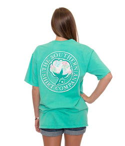 Women's Tee Shirts - Palm Print Logo Pocket Tee In Mojito By The Southern Shirt Co.
