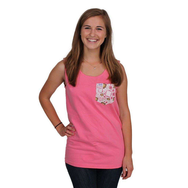 Women's Tee Shirts - Phi Mu Tank Top In Watermelon With Pattern Pocket By The Frat Collection - FINAL SALE