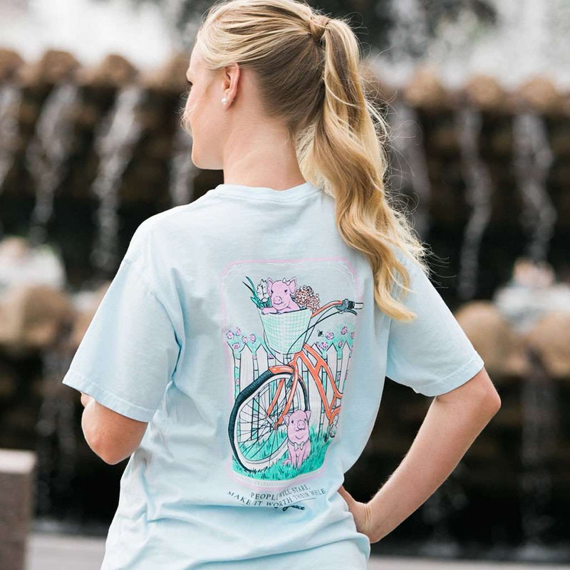Pigs on Bike Tee in Chambray by Lily Grace