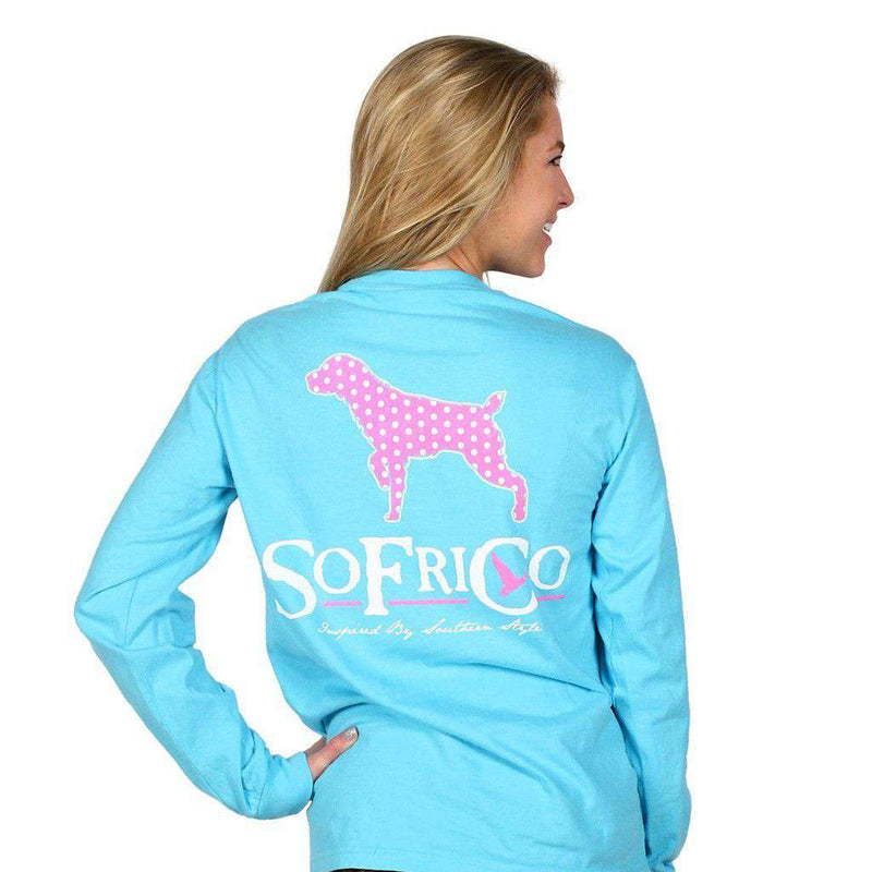 Women's Tee Shirts - Polka Pointer Long Sleeve Tee Shirt In Lagoon Blue By Southern Fried Cotton