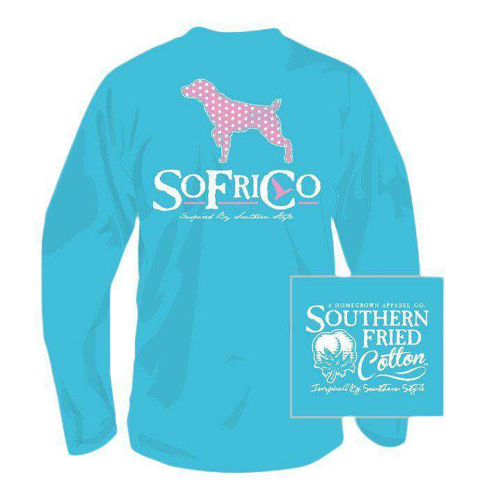 Polka Pointer Long Sleeve Tee Shirt in Lagoon Blue by Southern Fried Cotton