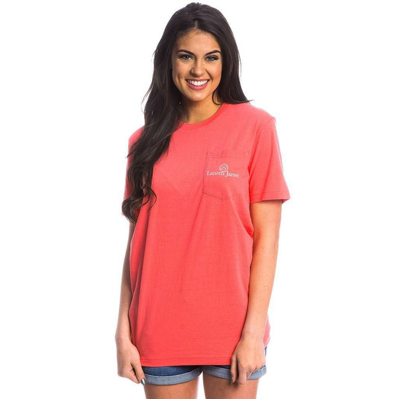 Pool Party Prep Pocket Tee in Coral by Lauren James - FINAL SALE