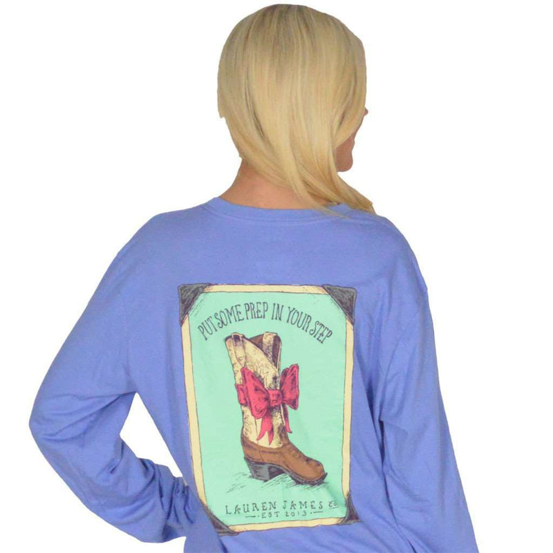 Women's Tee Shirts - Prep In My Step Long Sleeve Tee In Periwinkle Blue By Lauren James - FINAL SALE