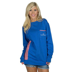 Women's Tee Shirts - Prepcheck Sweatshirt In Royal Blue With Crimson Gingham By Lauren James - FINAL SALE