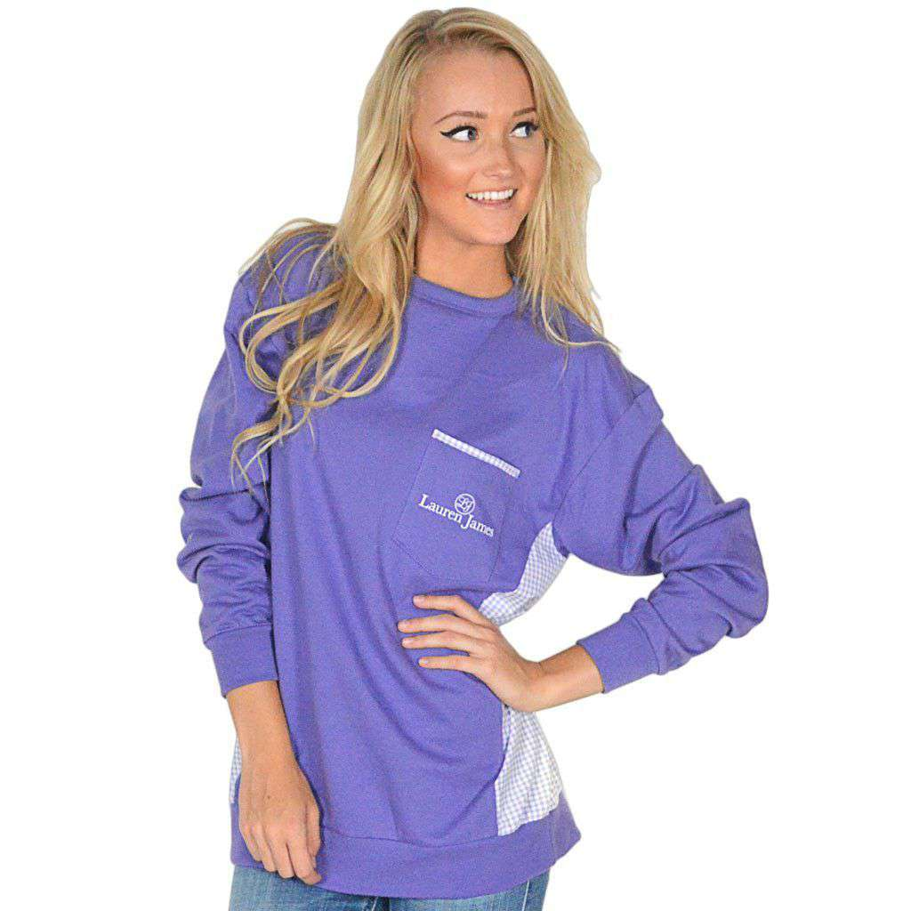 Women's Tee Shirts - Prepcheck Sweatshirt In Violet With Lavender Gingham By Lauren James - FINAL SALE