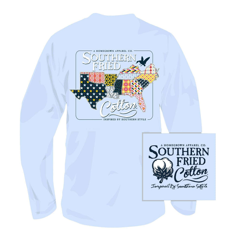 Quilted South Long Sleeve Tee Shirt in Chalky Blue by Southern Fried Cotton