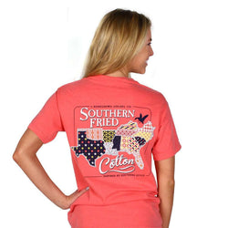 Women's Tee Shirts - Quilted South Short Sleeve Tee Shirt In Watermelon By Southern Fried Cotton