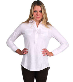 Women's Tee Shirts - Roll Sleeve Polo In White By Tyler Boe