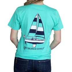 Women's Tee Shirts - Sailboat Tee In Mint By Anchored Style - FINAL SALE