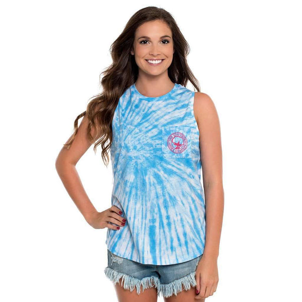 Women's Tee Shirts - Salt Washed Tie Dye Tank In Little Boy Blue By The Southern Shirt Co. - FINAL SALE