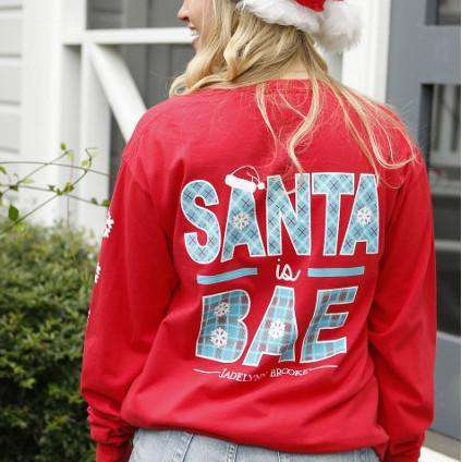 Santa is Bae Longsleeve Tee Shirt in Red by Jadelynn Brooke