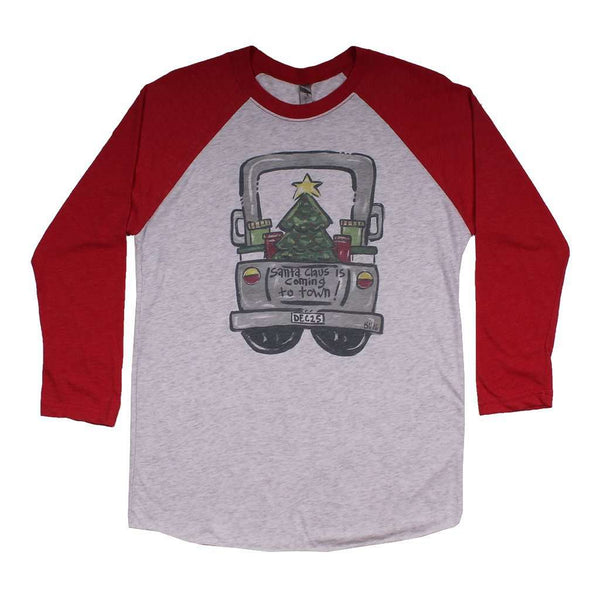 Women's Tee Shirts - Santa Truck Raglan Tee Shirt In Red By Southern Roots