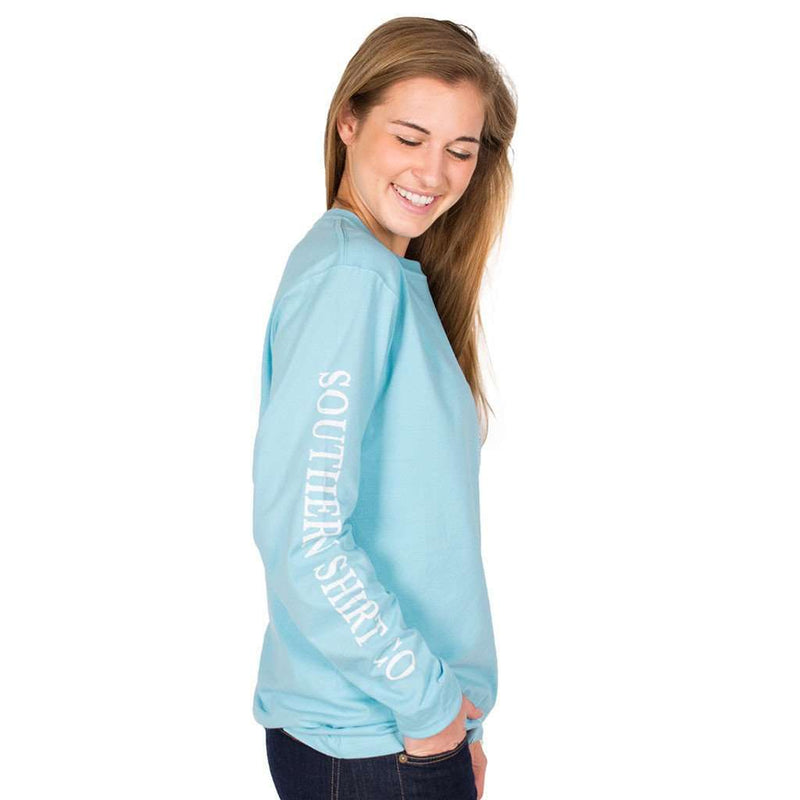 Women's Tee Shirts - Seaside Logo Long Sleeve Tee In Atlas Blue By The Southern Shirt Co.