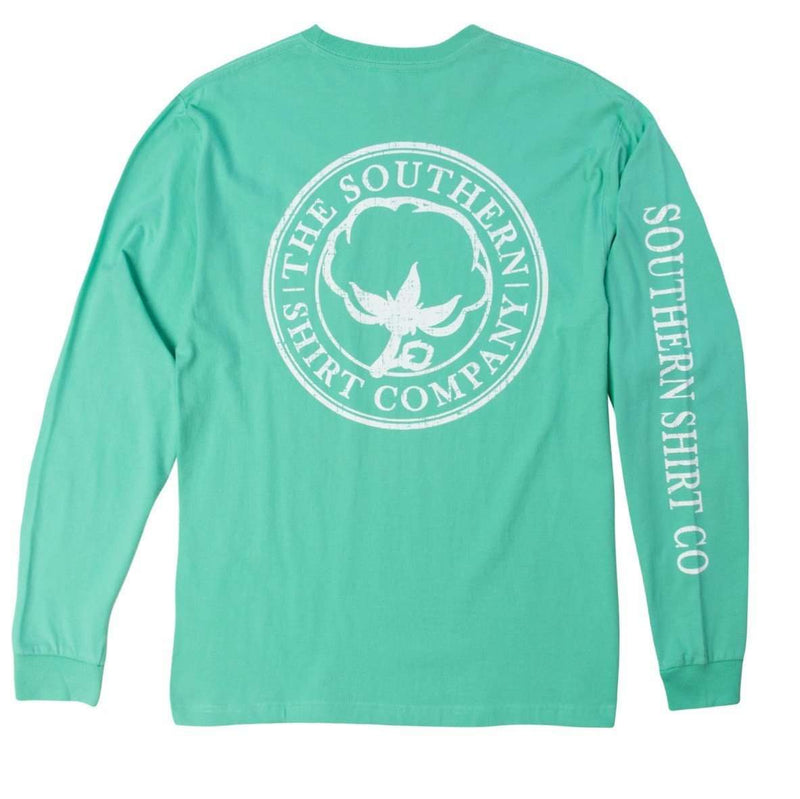 Seaside Logo Long Sleeve Tee in Florida Keys Green by The Southern Shirt Co.