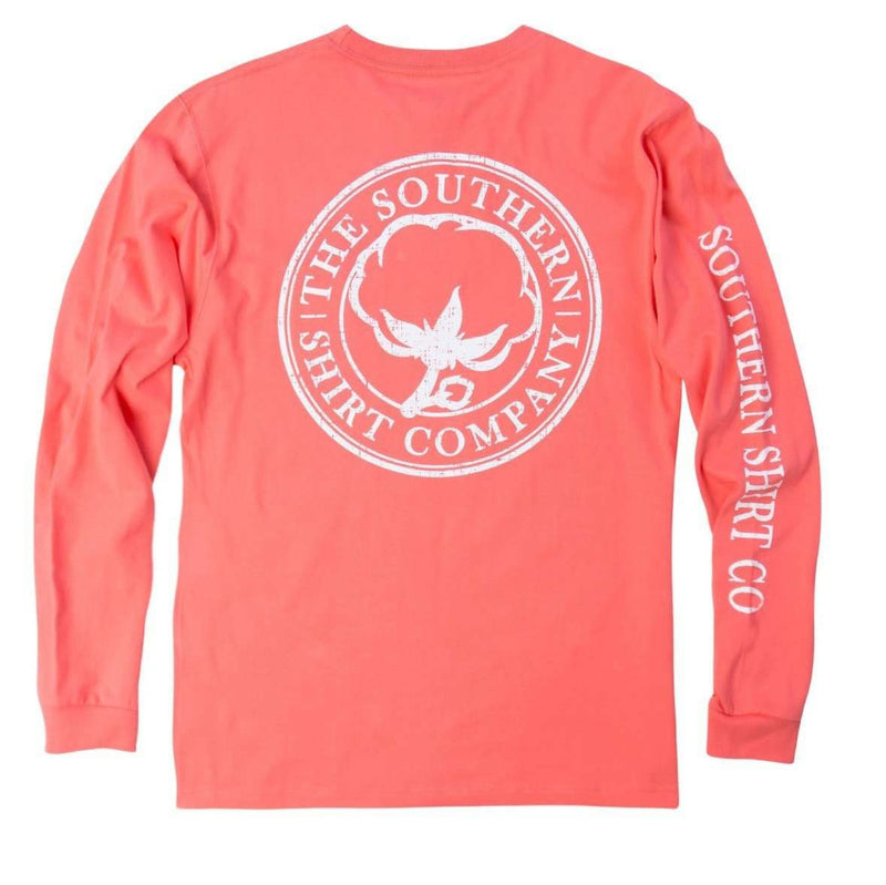 Seaside Logo Long Sleeve Tee in Georgia Peach by The Southern Shirt Co.