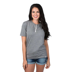 Short Sleeve Henley Tee in Dark Heather Grey by Lauren James - FINAL SALE