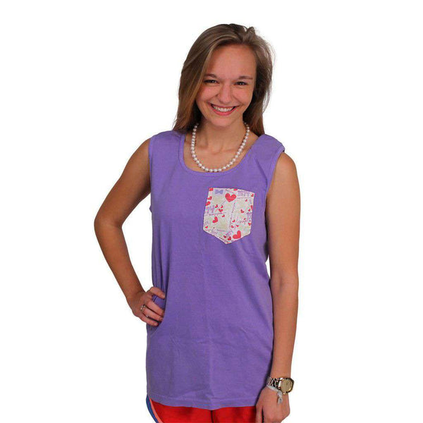 Women's Tee Shirts - Sigma Kappa Tank Top In Violet With Pattern Pocket By The Frat Collection - FINAL SALE