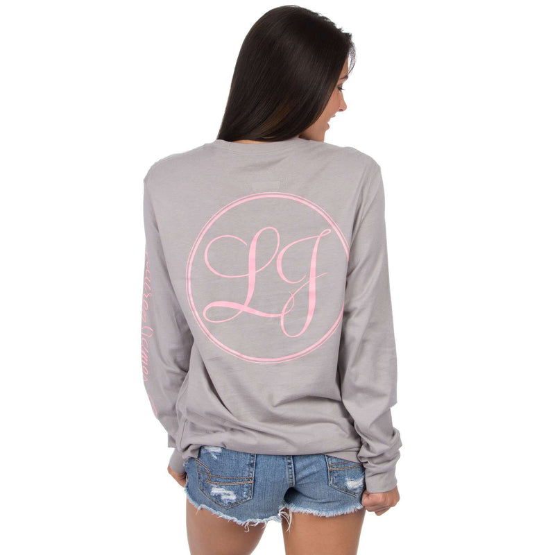 Women's Tee Shirts - Signature Long Sleeve Print Tee In Grey By Lauren James - FINAL SALE