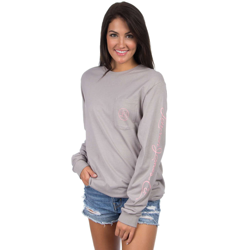 Signature Long Sleeve Print Tee in Grey by Lauren James - FINAL SALE