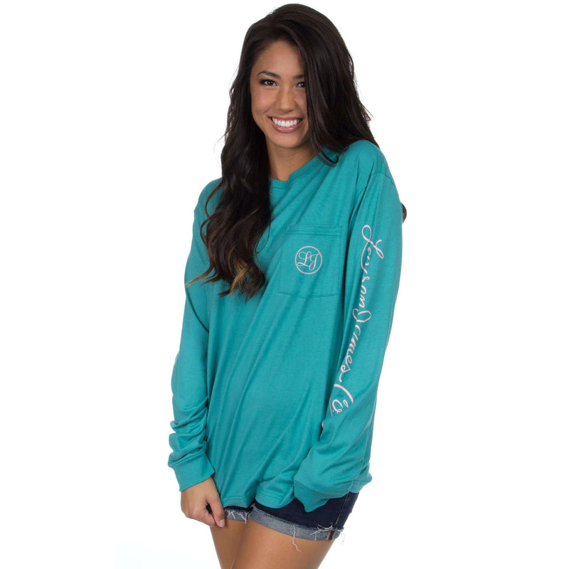 Signature Long Sleeve Print Tee in Seafoam by Lauren James - FINAL SALE