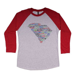 Women's Tee Shirts - South Carolina Cities And Towns Raglan Tee Shirt In Red By Southern Roots