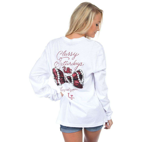 Women's Tee Shirts - South Carolina Classy Saturday Long Sleeve Tee In White By Lauren James