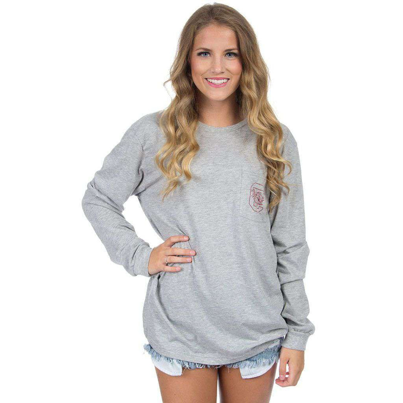 South Carolina Long Sleeve Stadium Tee in Heather Grey by Lauren James - FINAL SALE