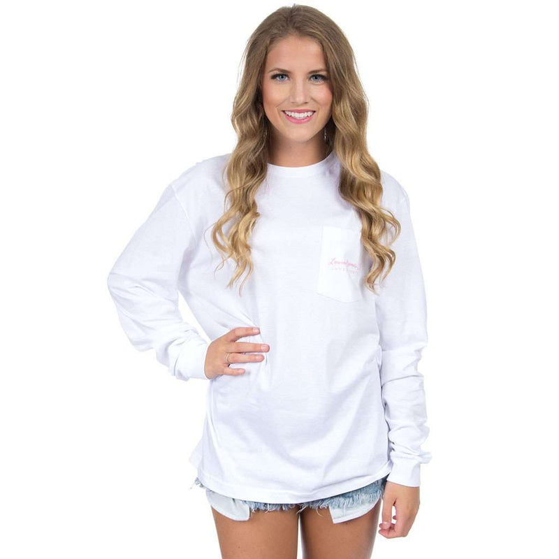 South Carolina Palm Preppy Long Sleeve Tee in White by Lauren James - FINAL SALE