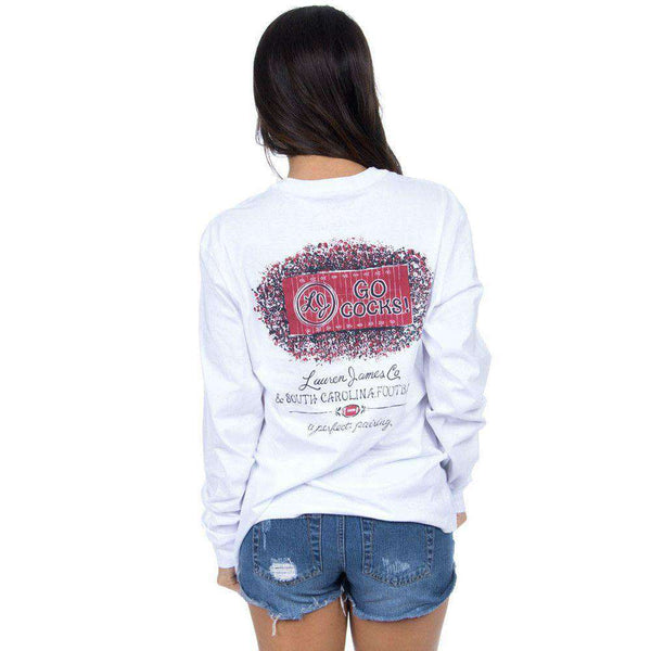 Women's Tee Shirts - South Carolina Perfect Pairing Long Sleeve Tee In White By Lauren James