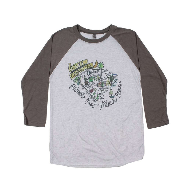 Women's Tee Shirts - South Carolina Roadmap Raglan Tee Shirt By Southern Roots