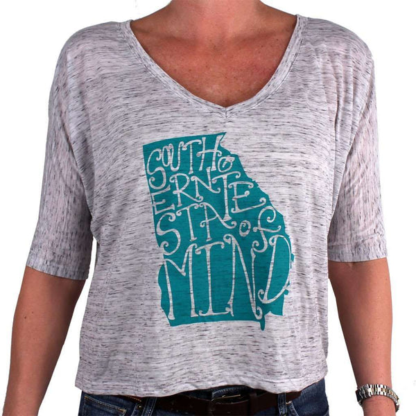 Southern State of Mind Georgia Tee in Grey by Geneologie - FINAL SALE