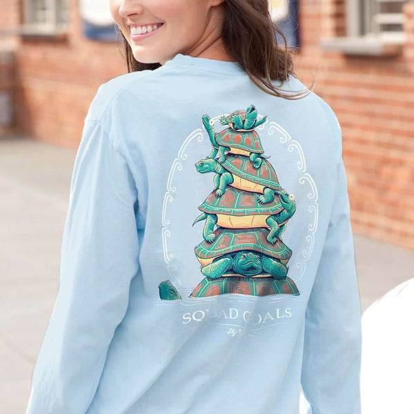 Squad Goals Turtles Long Sleeve Tee in Chambray by Lily Grace - FINAL SALE