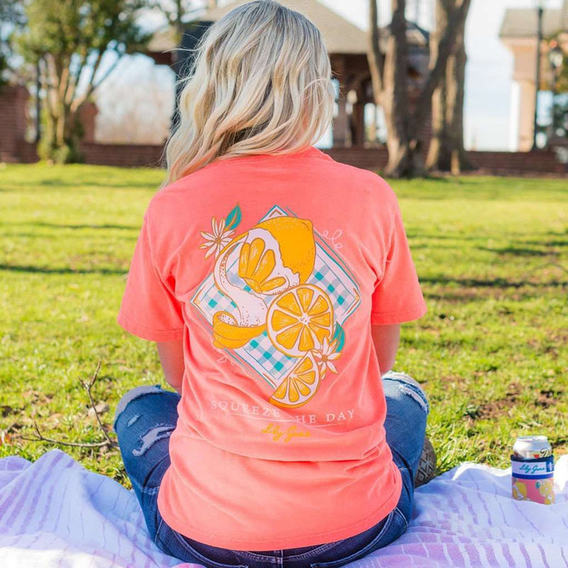 Squeeze the Day Tee in Neon Red Orange by Lily Grace