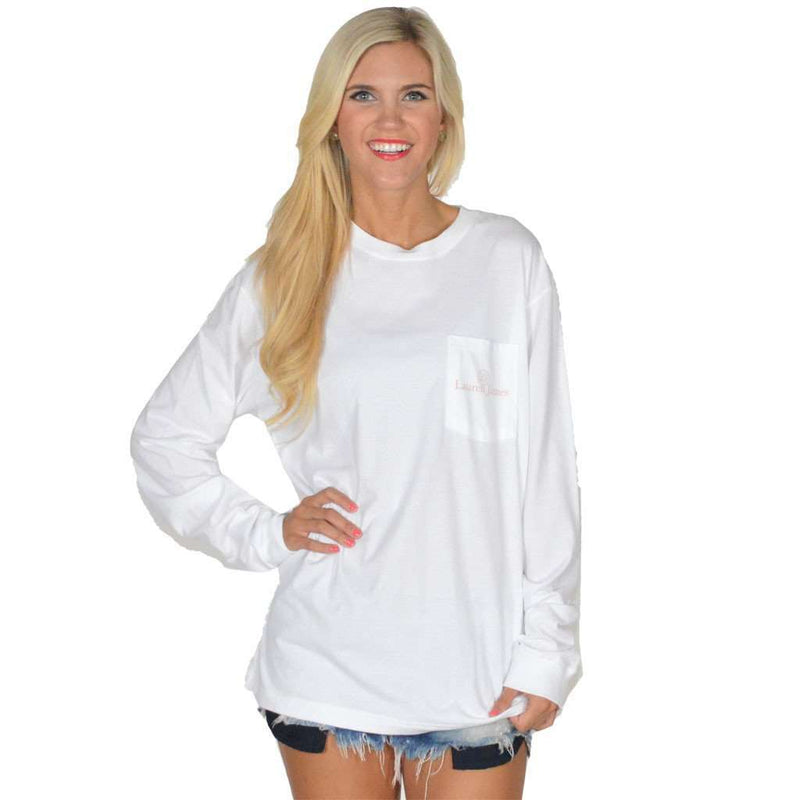 Tea Time Long Sleeve Tee in White by Lauren James - FINAL SALE