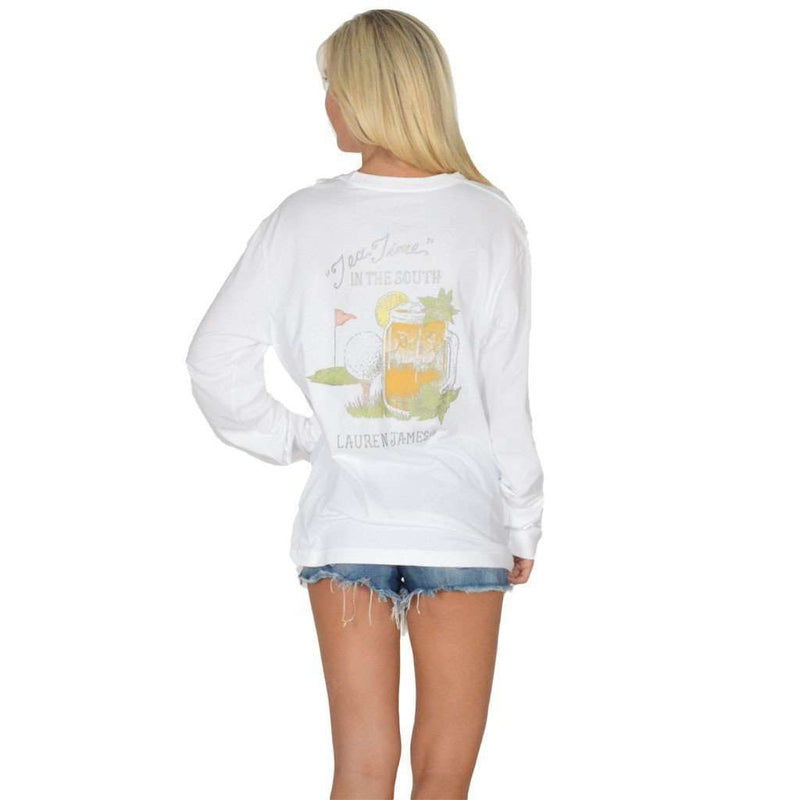 Women's Tee Shirts - Tea Time Long Sleeve Tee In White By Lauren James - FINAL SALE