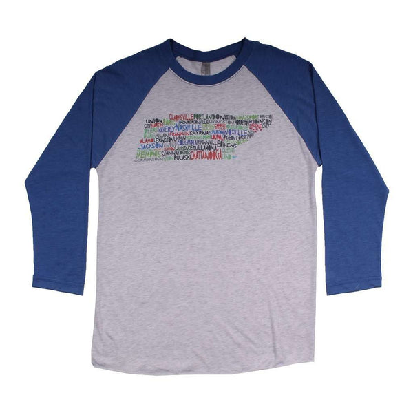 Women's Tee Shirts - Tenessee Cities And Towns Raglan Tee Shirt In Royal Blue By Southern Roots